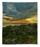 Fire Over The Outer Banks Fleece Blanket