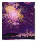 Fireworks In Malta Fleece Blanket