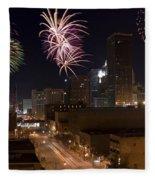 Fireworks Over The City Fleece Blanket