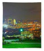 Fireworks Over The City Skyline Fleece Blanket