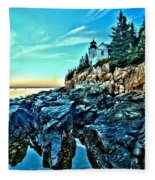 First Light At Bass Harbor Fleece Blanket