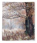 First Snow. Old Tree Fleece Blanket