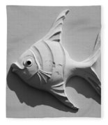 Fish And Shadow Face In Black And White Fleece Blanket