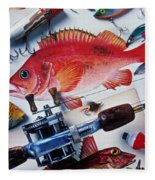Fish Bookplates And Tackle Fleece Blanket