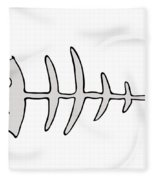 Fish Skeleton - Fishbones Fleece Blanket
