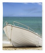 Fishing Boat On The Beach Fleece Blanket