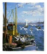 Fishing Boat Fleece Blanket