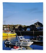 Fishing Boats At A Harbor, Slade Fleece Blanket