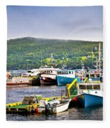Fishing Boats In Newfoundland Fleece Blanket