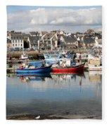 Fishing Boats In The Harbor Fleece Blanket