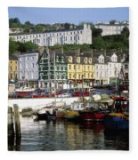 Fishing Boats Moored At A Harbor, Cobh Fleece Blanket