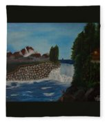 Fishing By The Falls Fleece Blanket