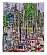 Fishing Docks Hdr Fleece Blanket