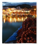 Fishing Harbour At Dusk Fleece Blanket