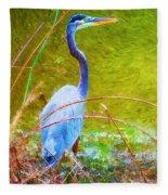 Fishing In The Reeds Fleece Blanket
