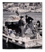 Fishing On The Golden Horn Fleece Blanket