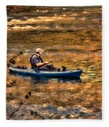 Fishing The Golden Hour Fleece Blanket