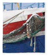 Fishing Vessel In Winter's Rest Fleece Blanket