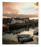 Fishing Village In Ireland Fleece Blanket