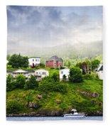 Fishing Village In Newfoundland Fleece Blanket