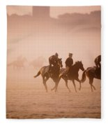 Five People Riding Thoroughbred Horses Fleece Blanket