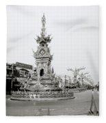 Flamboyant Clock Tower Fleece Blanket