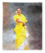Flamenco Dancer In Yellow Fleece Blanket