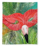 Flamingo Mask 2 Fleece Blanket