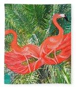 Flamingo Mask 4 Fleece Blanket