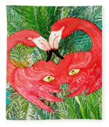 Flamingo Mask 7 Fleece Blanket