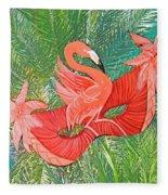 Flamingo Mask 8 Fleece Blanket