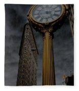Flatiron Building And Clock Fleece Blanket