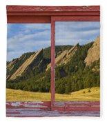 Flatirons Boulder Colorado Red Barn Picture Window Frame Photos  Fleece Blanket