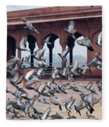 Flight Of Pigeons Inside The Jama Masjid In Delhi Fleece Blanket
