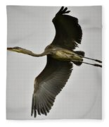 Flight Of The Great Blue Heron Fleece Blanket