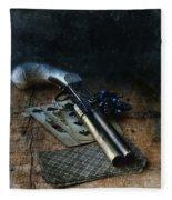 Flint Lock Pistol And Playing Cards Fleece Blanket