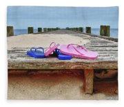 Flip Flops On The Dock Fleece Blanket