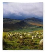 Flock Of Sheep Grazing In A Field Fleece Blanket