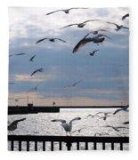 Flocking Gulls Fleece Blanket