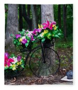 Floral Bicycle On A Cloudy Day Fleece Blanket
