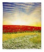Floral Field On Sunset Fleece Blanket