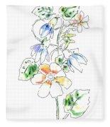 Floral Watercolor Paintings 4 Fleece Blanket