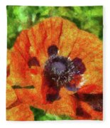 Flower - Poppy - Orange Poppies  Fleece Blanket