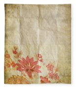 Flower Pattern On Old Paper Fleece Blanket