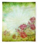Flower Pattern On Paper Fleece Blanket
