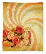 Flower Pattern Retro Style Fleece Blanket