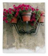 Flower Pots On Old Wall Fleece Blanket