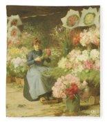 Flower Seller In Front Of The Madeleine Church Fleece Blanket