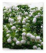 Flowering Snowball Shrub Fleece Blanket
