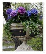 Flowerpot With Hydrangea Fleece Blanket